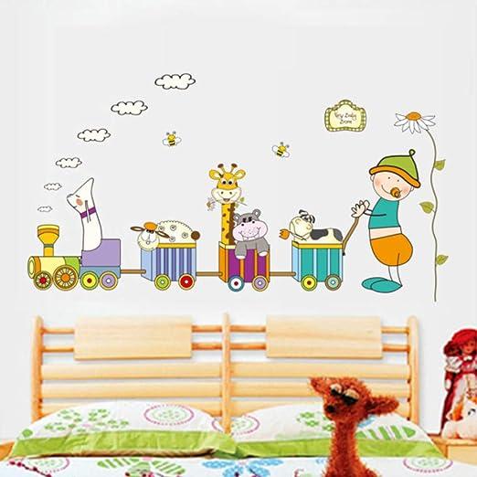DIY Animal Bebé Chupete Tren Etiqueta De La Pared Murales Niños Habitación Chico Dormitorio Decoración Pegatinas Pared Niños 60X90 cm: Amazon.es: Hogar