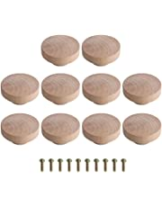 Yibuy 10 pomos de madera Superba color madera para armario y cajón, 50 x 25