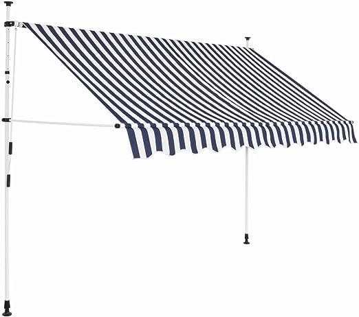 tiauant Casa y jardín Jardín Artículos de Exterior Toldos Toldo Manual retractil 250 cm Azul y Blanco a Rayas toldos terrazaAltura de instalacion Flexible: 200-300 cm: Amazon.es: Jardín