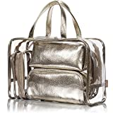 NiceEbag 5 in 1 Cosmetic Bag & Case Portable Carry on Travel Toiletry Bag Clear PVC Makeup Train Case Quart Luggage Pouch Transparent Handbag Beach Tote Bag Organizer for Men and Women (Light Gold)