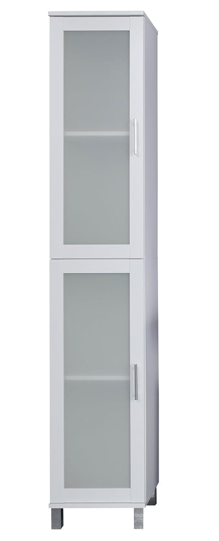 Trendteam 1681–101–01 Meubles - bois - blanc mélamine-Verre satniert - 35 x 33 x 188 cm