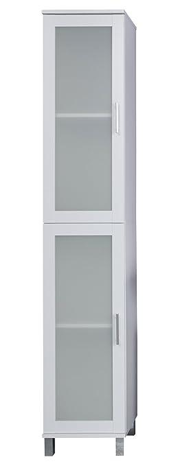 trendteam flo10101 Mobile alto da bagno bianco melamina, vetro ...