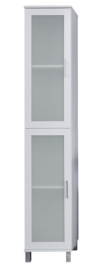 trendteam Cuarto de baño Armario alto Armario Florida, 35 x 188 x 33 cm en blanco con mucho espacio