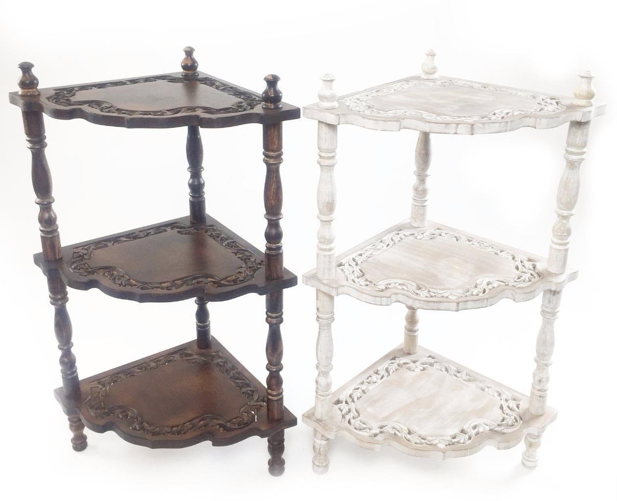 86x52cm Indian Hand Carved 3 Tier Corner Shelf Telephone Bedside Side Table (Brown) Topfurnishing Ltd 1464973642-001