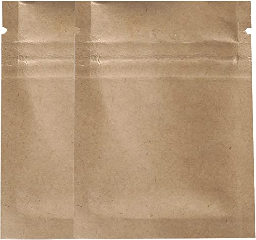 100pcs,Brown Kraft Paper Bags Al Foil Resealable Zip Lock Packaging Food Pouches