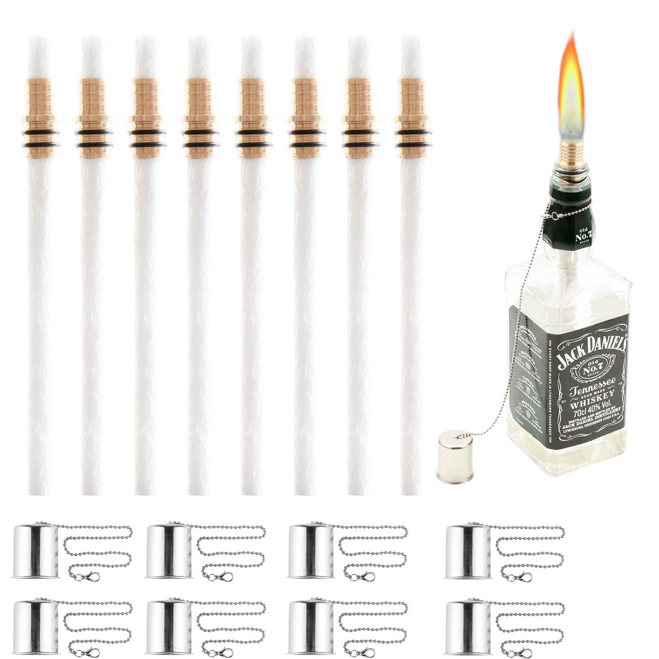 OEXEO Wine Bottle Tiki Wicks,Oil Lamps,Tabletop Torch,Patio Torch,Table Top Torch Lantern Kit for Spring Summer Nights/Outdoors (8PCS Lamp Covers)
