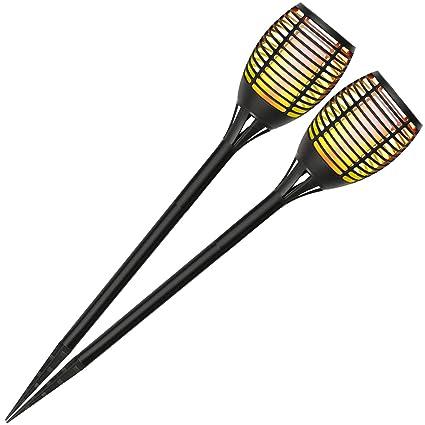 Solar-Gartenfackel als Au/ßenbeleuchtung Solarlampe Flamme mit 72 LED f/ür Garten und Balkon com-four/® LED Solarleuchte mit Flammeneffekt