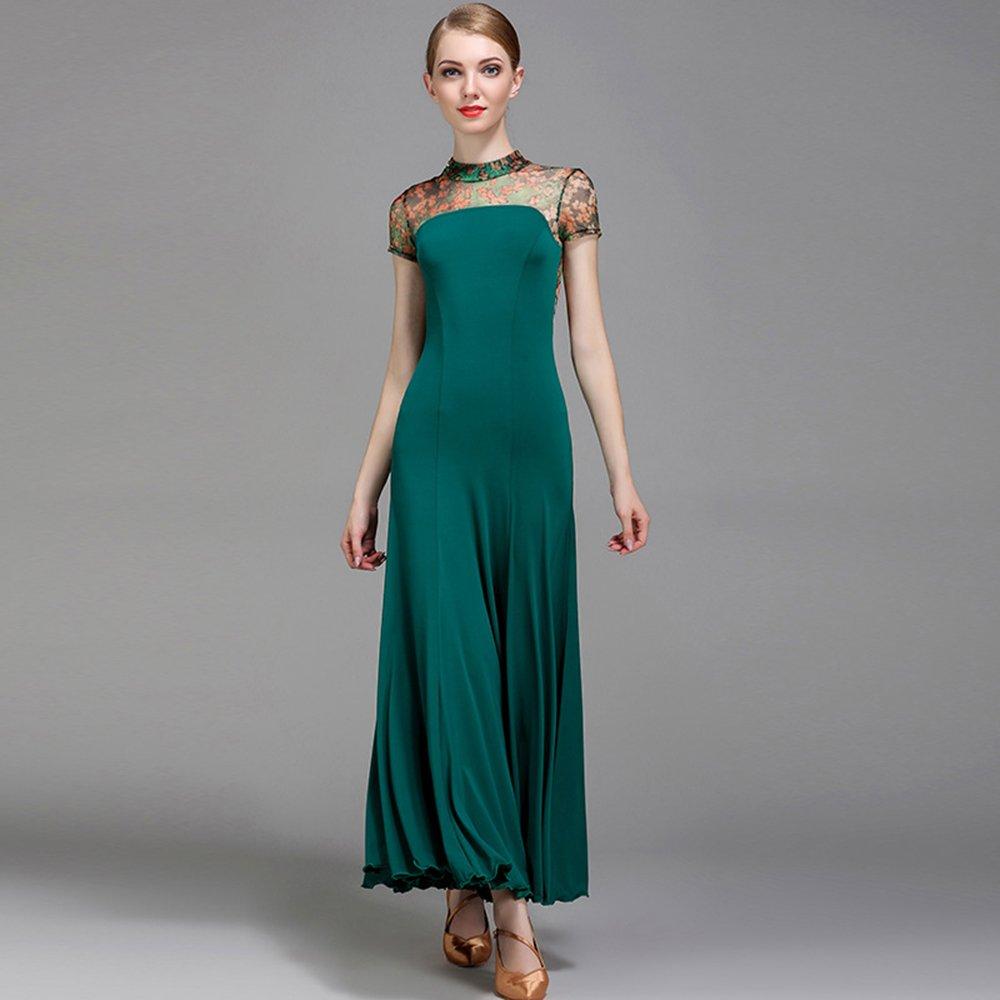 現代の女性の大きな振り子ネット糸ファッションモダンダンスドレスタンゴとワルツダンスドレスダンスコンペティションスカート印刷半袖ドレスダンスコスチューム B07HHNTLCT XL|Green Green XL