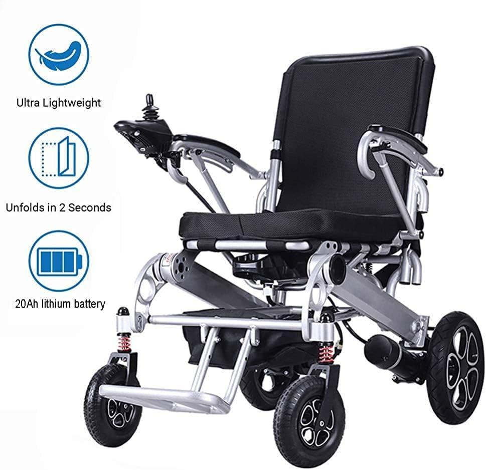 ZY Ligera Silla de Ruedas eléctrica Plegable con la batería de 20Ah Litio-Ion, Scooter eléctrico Plegable Ultra portátil Adecuado para Las Actividades discapacitados y Ancianos,Silver