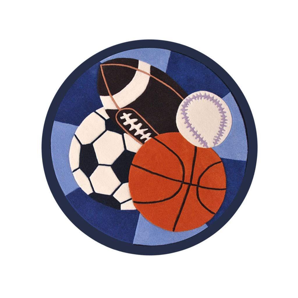 Paioupaiou デザイナーの敷物デザイナーのラウンドカーペット用リビングルーム寝室エリアラグ子供部屋滑り止めクロールマット手作り漫画サッカーバスケットボールホームデコレーション ソフトカーペット   B07SCM7KVT