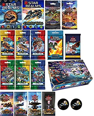 Star Realms Grand Bundle of Base Game, Colony Wars, All 6 Command Decks, Gambit and Cosmic Gambit, Crisis Set, Frontiers, and The Promo 1 and Scenarios Packs Plus 2 Star Fighter Buttons