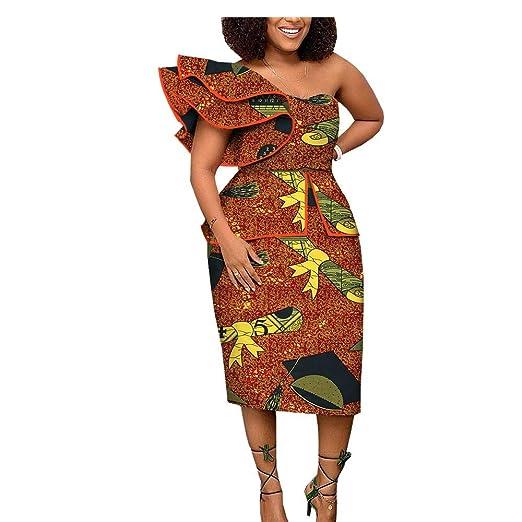 African Ankara Print Women Dress Short Butterfly Sleeve Mid Calf