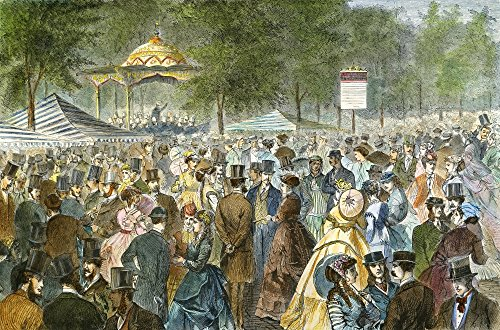 Central Park Nyc 1869 Na Fashionable Crowd Gathers To Socialize On A Saturday Afternoon Near The Music Stand On The Mall In New York CityS Central Park Colored Engraving 1869 ()