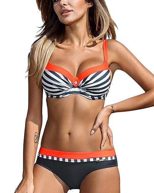 18d764a0b6285 Tomwell Donna Estate Costume da Bagno Sexy Strisce Spiaggia Bikini Set  Reggiseno Imbottito Push-Up Piscina Mare Beachwear Due Pezzi  Amazon.it  ...