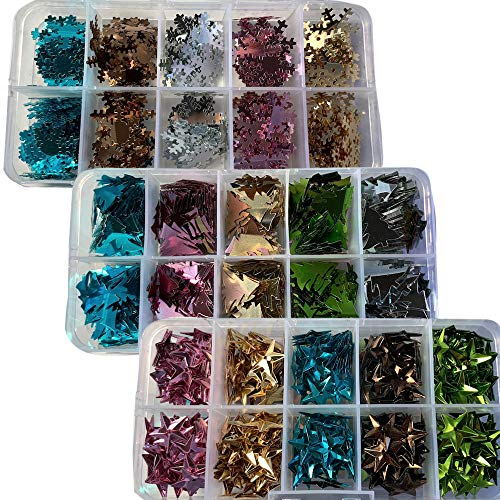 Christmas Glitter and Confetti - Pack of 3 Plastic Storage Trays with Assorted Colors of Mini Glittered Confetti Shapes - Stars, Snowflakes and Trees