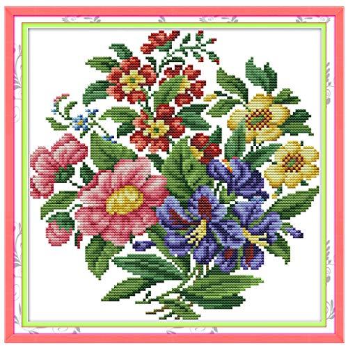 Shoresu 14CT Counted Cross Stitch Kits, Flower Bouquet Cross-Stitch Pattern DIY Hand Needlework Kit Printed Embroidery Kit Set Home Decoration ()