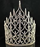 Beauty Queen Crown Tiara Clear Austrian Rhinestone Crystal Pageant T1413g Gold