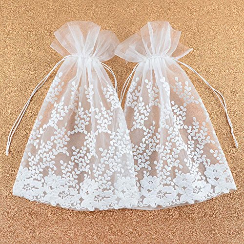 (VU100 Drawstrings Organza Bags/Pouches Lace Flower Decor, Premium Wedding Party Favor Gift Bags, for Candy Clothes Sachet Storage (2 Packs,10x14 Inches, White))