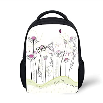 0152c58cd3ea Amazon.com: iPrint Kids School Backpack Nature,Flowerbed Cute Spring ...