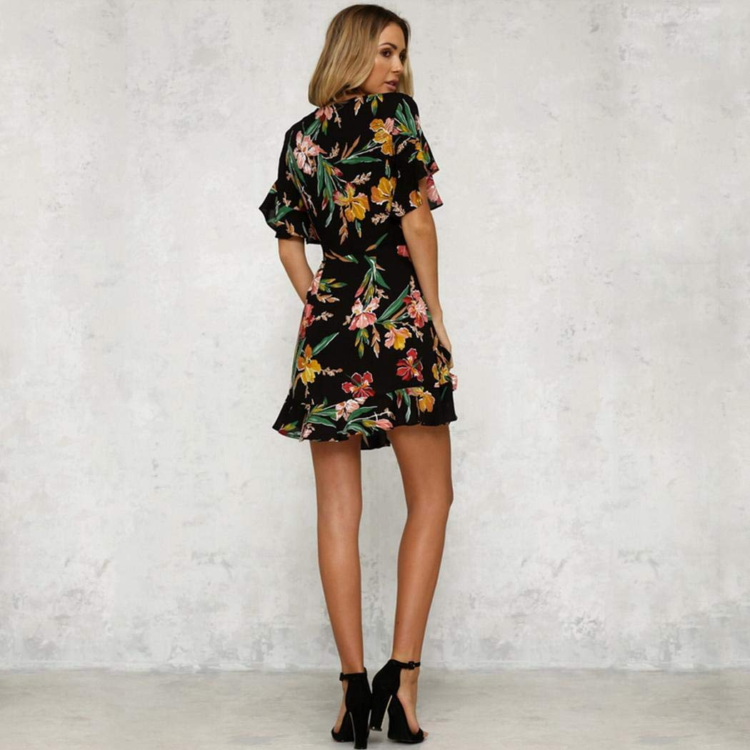 piokikio Women Casual Dress Ruffle Sleeve V-Neck Floral Slim High Waist Dresses with Belt Black