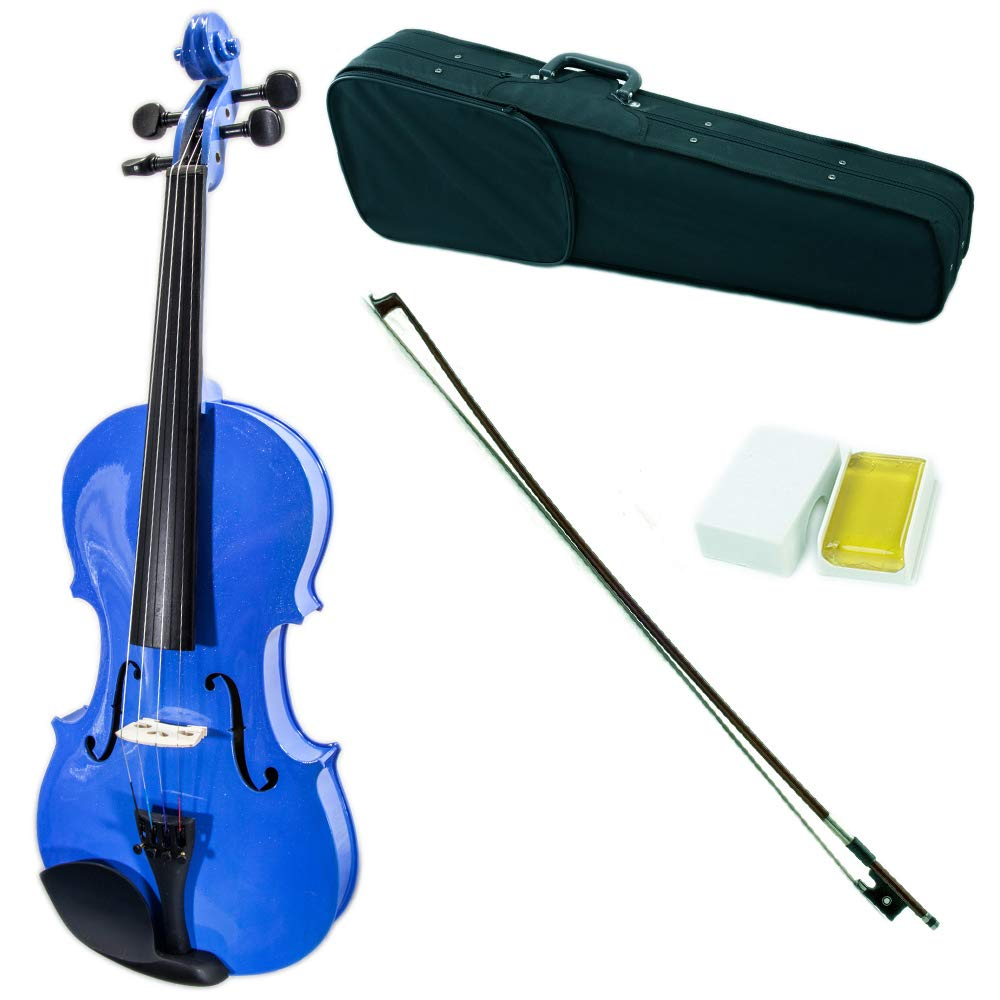SKY Full Size VN202 Solidwood Blue Violin with Brazilwood Bow and Lightweight Case