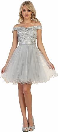 Formal Dress Shops Inc Fds1565 Off The Shoulder Graduation Designer Dress At Amazon Women S Clothing Store