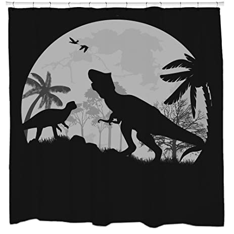 Jurassic park dinosaur shower curtain trex full moon halloween bathroom  decor Amazon com