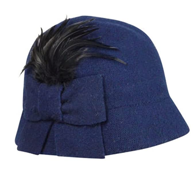 1920s Hat Styles for Women- History Beyond the Cloche Hat August Accessories Wool Cloche Bow Feathers Navy Blue Hat $34.95 AT vintagedancer.com