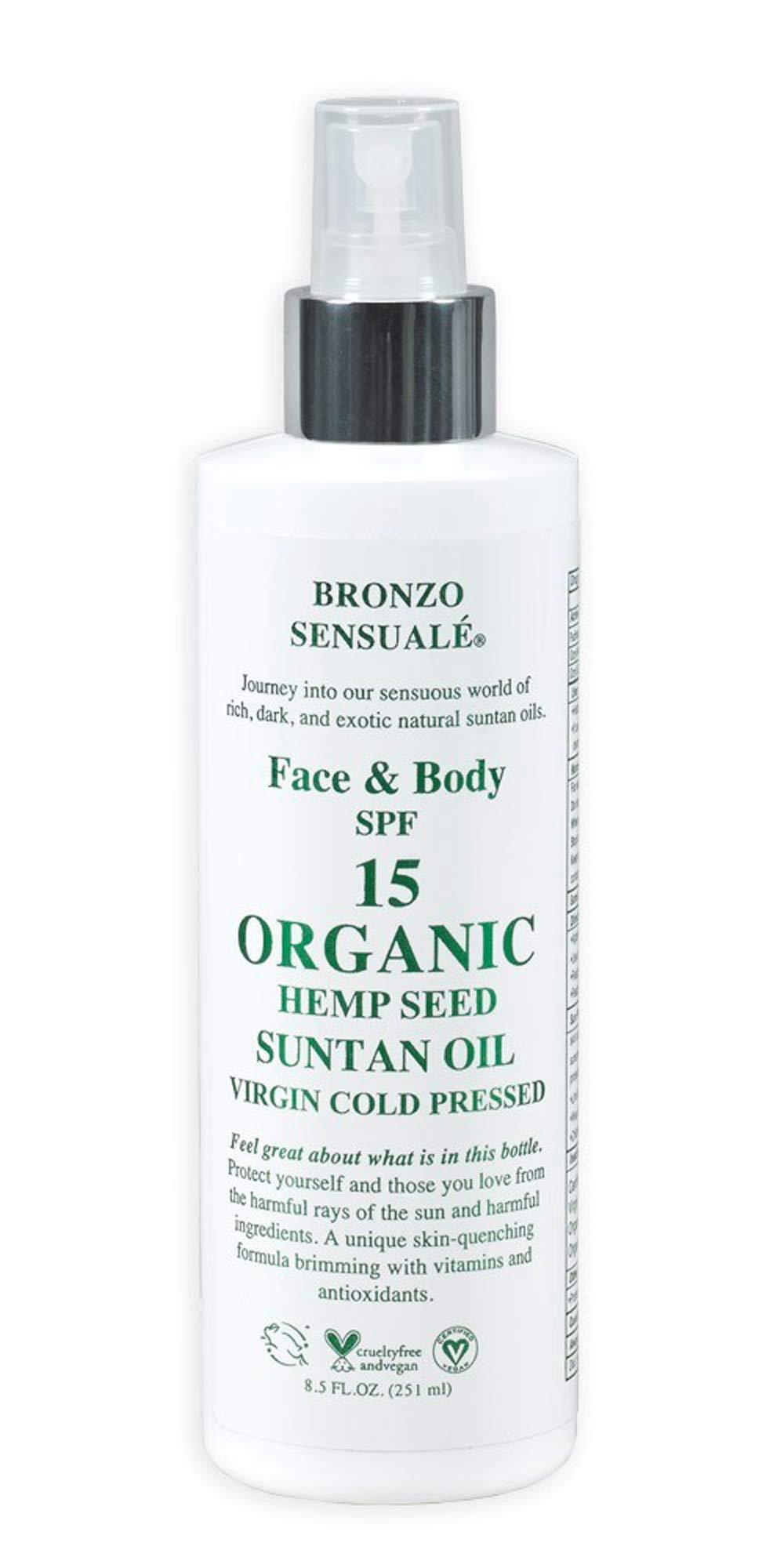 Bronzo Sensualé SPF 15 Sunscreen Organic Deep Tanning Hemp Seed Oil 8.5 Oz.