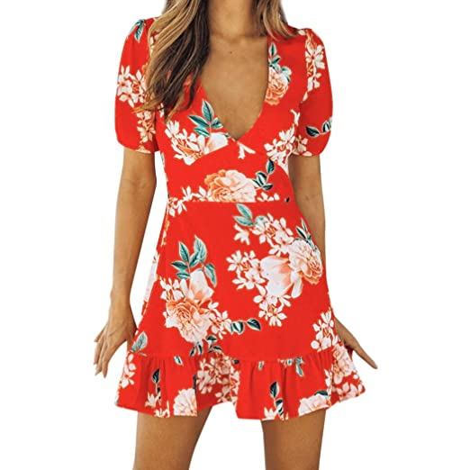 d0727e33785 WYTong Clearance Women Ladies Retro Floral Printed Casual Sundress Short  Sleeve Summer Mini Dress at Amazon Women s Clothing store