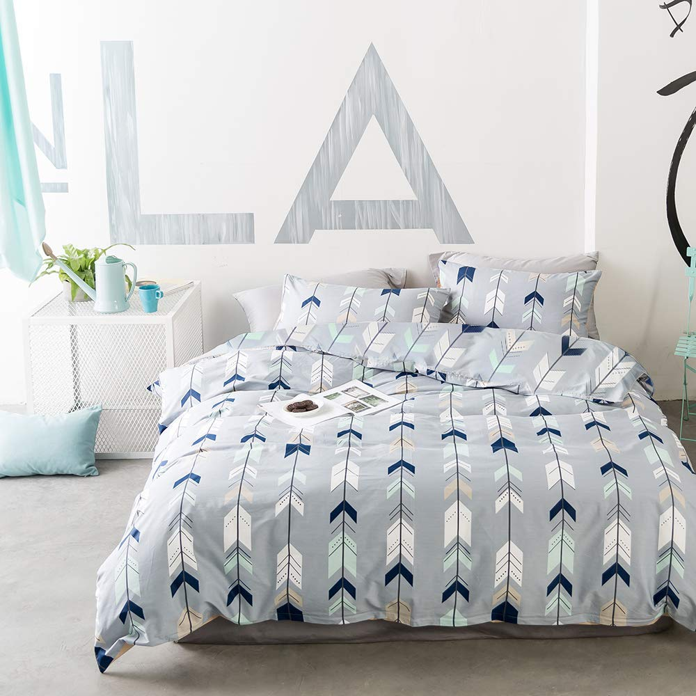 EnjoyBridal Comforter Cover, Twin Bedding Duvet Cover Sets Teens Geometric Cotton Kids Bedding Sets Twin Boys Girls Arrows Triangle Quilt Cover Twin with Zipper Closure, No Comforter