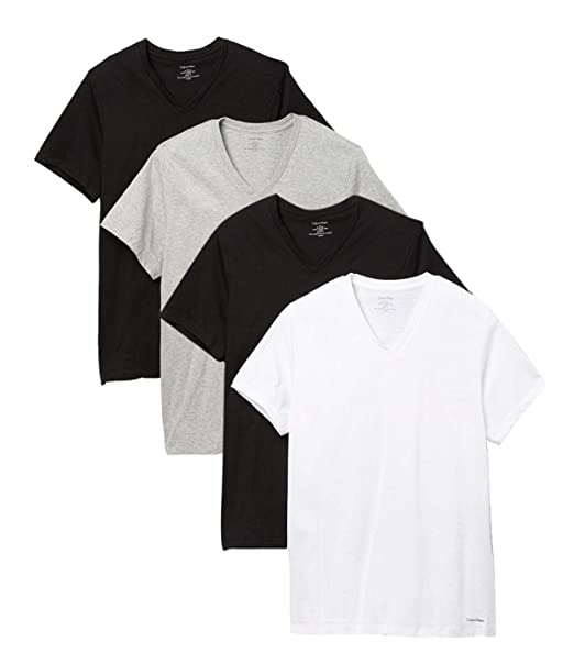 eb2bf371 Calvin Klein Men`s Cotton Classic Fit Short Sleeve V Neck T-Shirt, 4-Pack:  Amazon.ca: Clothing & Accessories