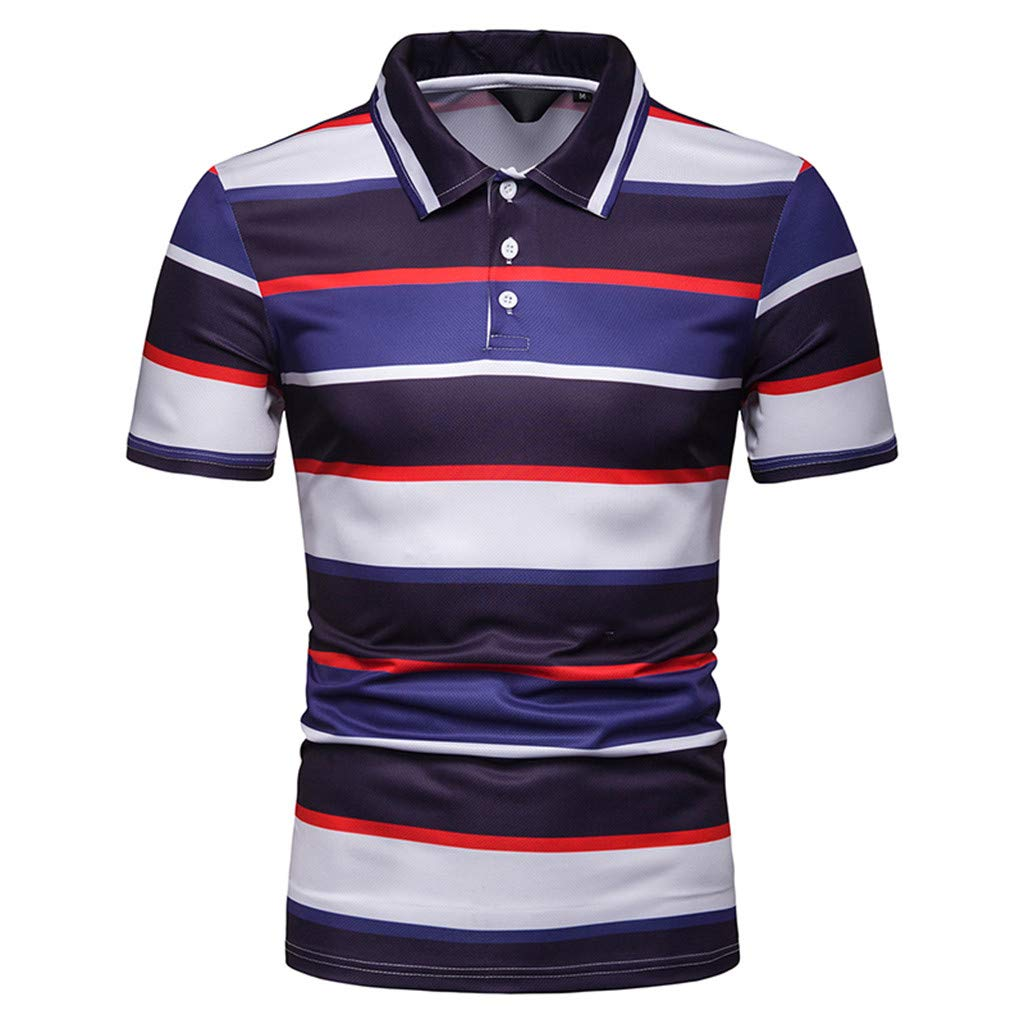 Hotkey Mens Polo Shirts Men'S Fashion Short Sleeve Stripe Painting Large Size Casual Top Blouse Red