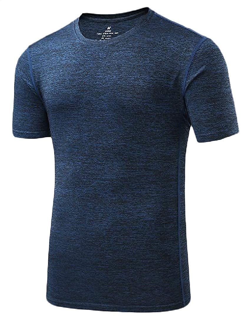 Cromoncent Mens Crewneck Burnout Quick Dry Breathable Short Sleeve Slim Top Tee T-Shirts