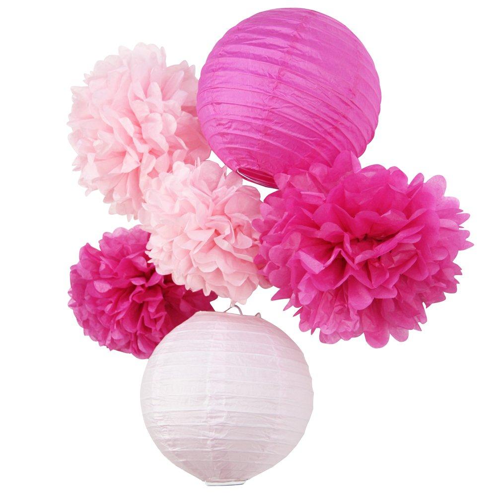 SUNBEAUTY Pompon Papier de Soie Lampion Papier Rose Fuchsia pour Mariage Anniversaire Fille Saint Valentin Decoration Noel Lot de 6 LTD