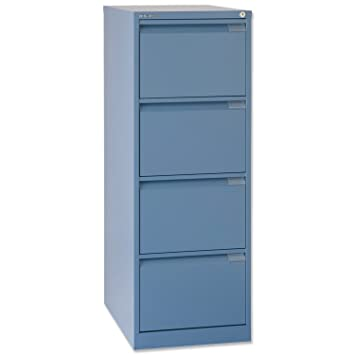 new arrival 89b5c f6218 Bisley Premium Filing Cabinet Flush-front 4-Drawer W470xD622xH1321mm Blue  Ref BS4E 105