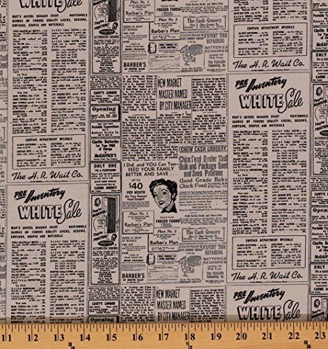 (Cotton Newspaper Newsprint Headlines Advertisements Ads Retro Modern Background Paper Zen Chic Cotton Fabric Print by the Yard 1582-17)