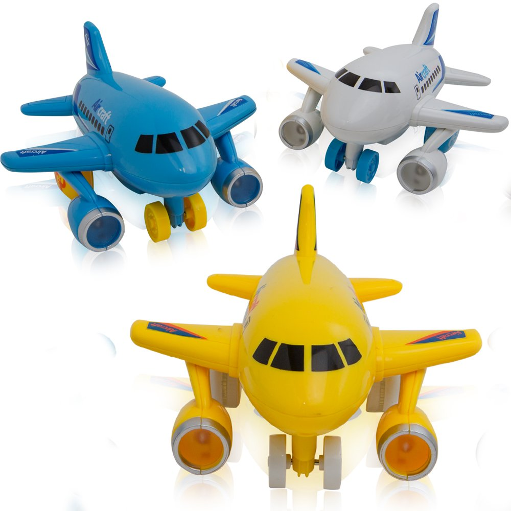 KIDSTHRILL Mini Friction Powered Airplanes with Lights and Air Plane Sounds - Set of 3 Push and Go Toy Travel Set Planes for Toddler Kids