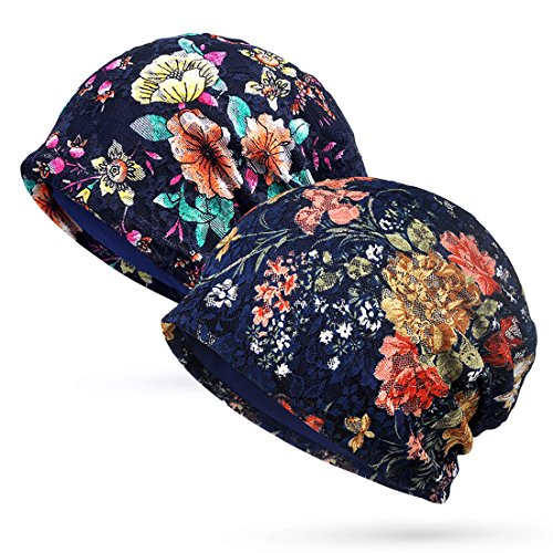 Trendeer Womens Floral Lace Beanie Slouchy Turban Hat Cancer Headwear Chemo Cap (One Size, Stretchable, Style 3-4 Navy) - Cancer Caps Pattern
