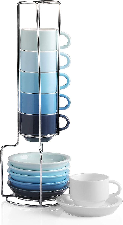 SWEEJAR Porcelain Espresso Cup & Saucer Set, Stackable Demitasse Cups with Metal Stand, 2.5 OZ for Latte, Coffee, Cafe Mocha, Tea, Set of 6(Blue)