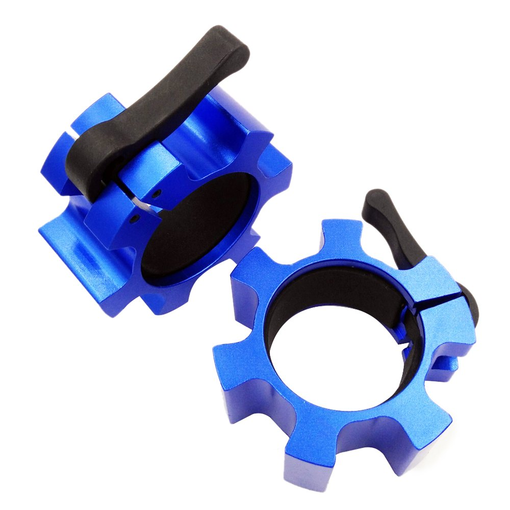 MyLifeUNIT Barbell Clamps, Barbell Collars, 2-inch Olympic Size Lock Collars (a pair) (Blue)