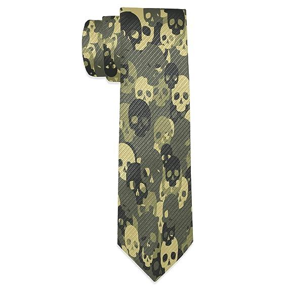 Wamika Corbata de camuflaje verde con diseño de calavera para ...