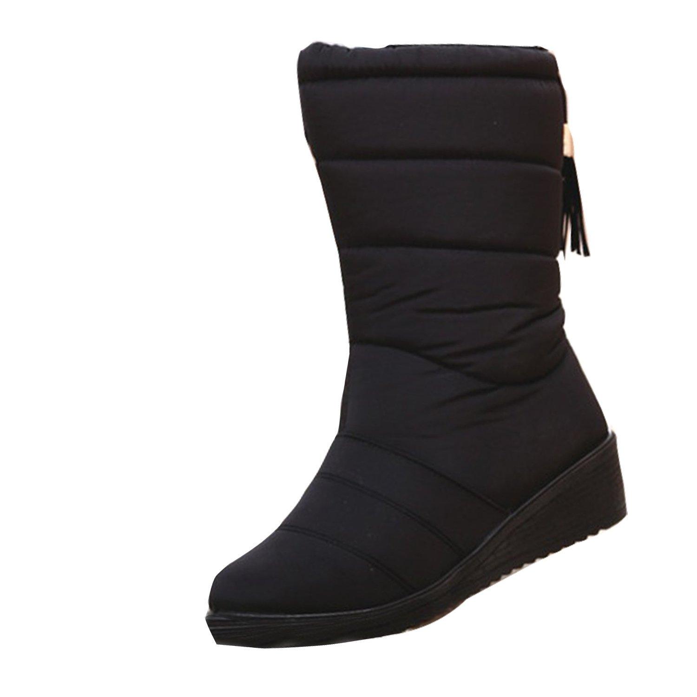 Winter Warm Waterproof Tassel Shoes Anti-Slip Rubber Sole Snow Boots for Women Black7US