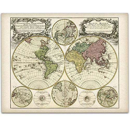 Vintage Old World Map - 11x14 Unframed Art Print - Great Vintage Home Decor, Also Makes a Great Gift Under $15