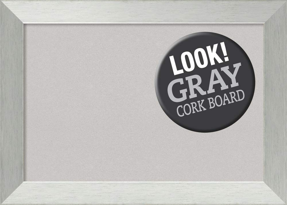 Amanti Art Sterling Outer Size 28 x 20 Framed Grey Cork Board Medium, Brushed Silver
