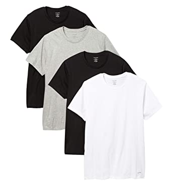 1a1dd88d6 Calvin Klein Men`s Underwear Cotton Classic Fit Short Sleeve Crew T-Shirt,  4-Pack at Amazon Men's Clothing store: