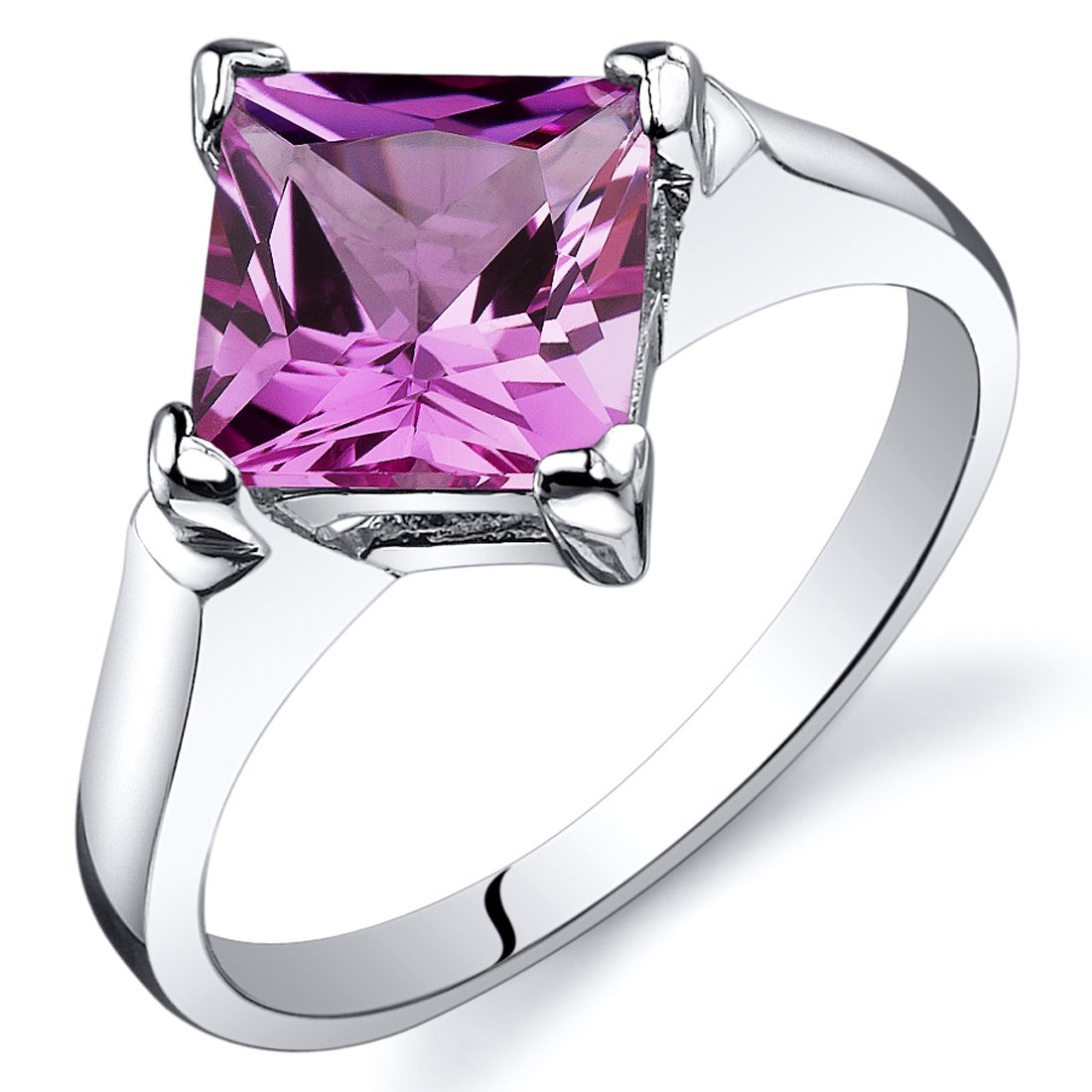 Created Pink Sapphire Engagement Ring Sterling Silver Rhodium Nickel Finish 2.25 Carats Size 7