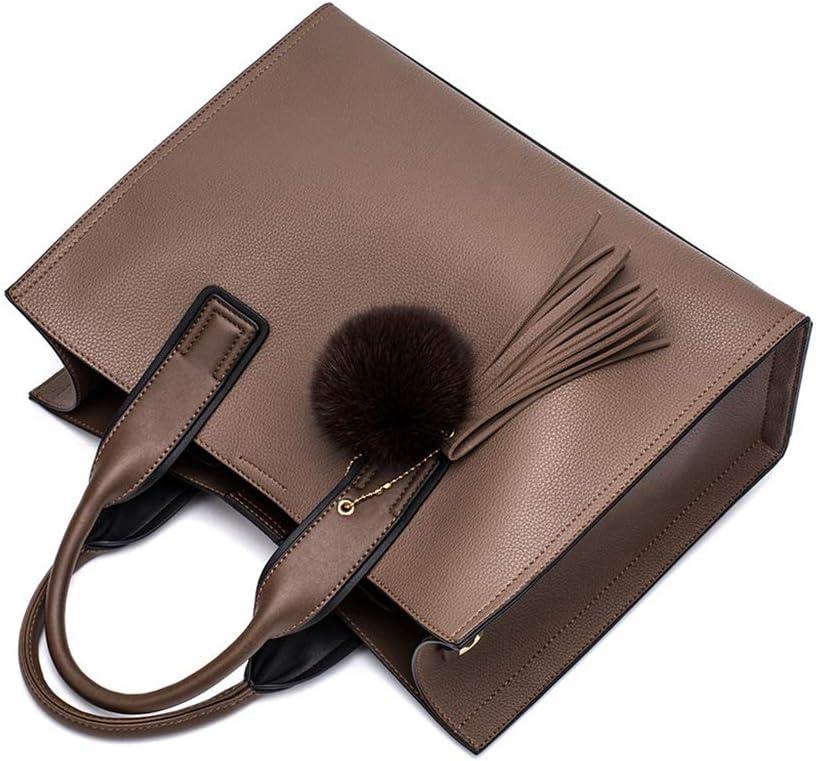 CBJMF Weiblicher Beutel Damen Leder Handtaschen Lässig Braun Tragetaschen Umhängetasche Grifftasche Mit Quaste und flauschigem Ball, Schwarz Braun