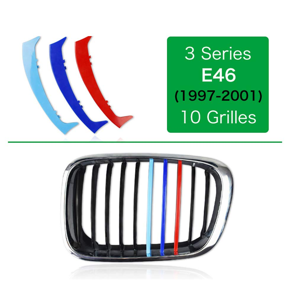 //////M-Colored Stripe Grille Insert Trims Front Grill Stripes Covers For 2010-2012 BMW E92//E93 LCI 3 Series 2-Door Coupe 328i 335i 335is with 13-Beam ONLY