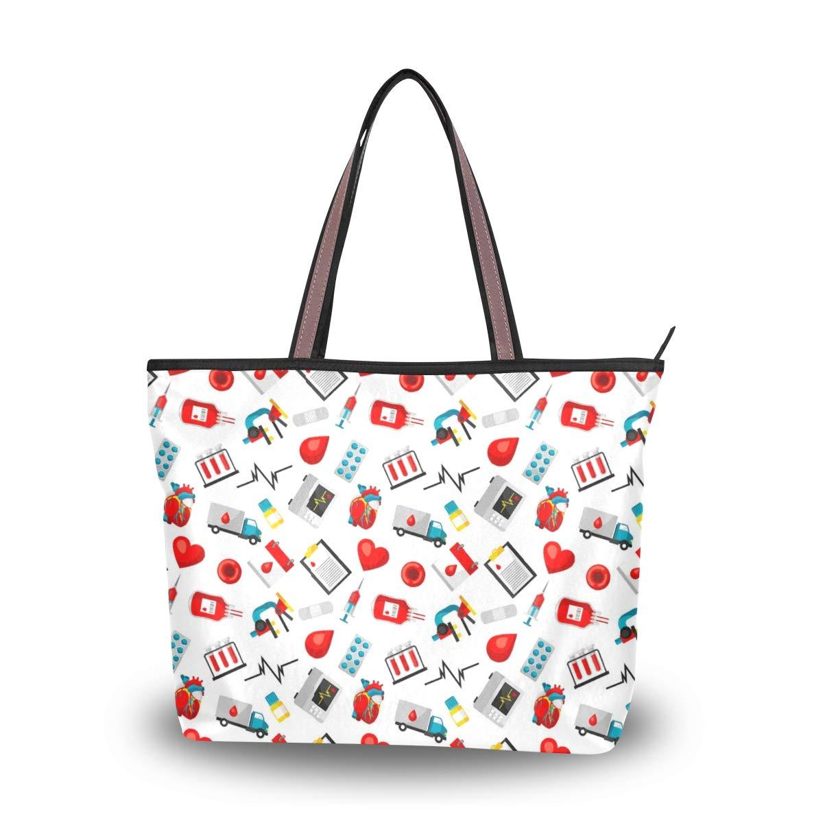 Women Blood Donation Pattern Large Tote Bag Shoulder Bag Lightweight For Gym Hiking Picnic Travel Beach Waterproof Handbag